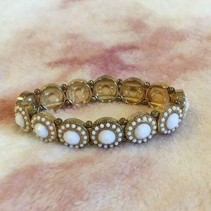 Francescas Elastic White Faceted Stone Bracelet RS